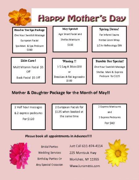 Luna Mesa Day Spa Prices
